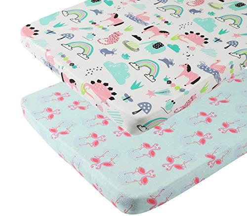 Tontukatu Pack n Play Stretchy Fitted Playard Sheet Set 2 Pack Jersey Knit Ultra Soft for Baby Girl Portable Mini Crib SheetsConvertible Playard Mattress CoverFlamingo Elephant Horse Lt Green Pink