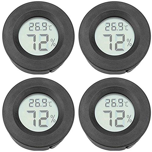 4 Pack Round Mini Hygrometer Thermometer Fahrenheit or Celsius Temperature Humidity Meter Digital LCD Monitor