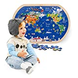 Ealing 34 Pieces Wooden Puzzles for Kids Toddlers World Tour Map Learning Puzzles for Kids Ages 3-5, Preschool Educational Puzzle Toys for Boys and Girls as Holiday Birthday Gifts