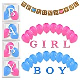 SIREEMA Clear Boxes with Baby Shower Balloons - 31 Pieces Baby Shower Decorations for Girl and Baby Boy - Gender Reveal Box for Balloons and Birthday Decorations for Girls and Boys