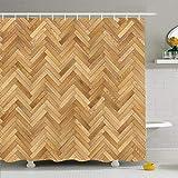 Shower Curtain For Bathroom 60x72 Fashion Chevron Herringbone Natural Parquet Floor Wood High Cg Massive Planks Texture Resolution Waterproof Polyester Fabric Bath Decor Set With Hooks 60X72 Inch