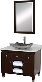 Wyndham Collection Premiere 36 inch Single Bathroom Vanity in Espresso with White Carrera Marble Top with Black Granite Sink