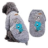犬服 Tシャツ 綿 ペット服 ハロウィン クリスマス 人気 ファッション 可愛い 柔らかい 防寒 秋冬服 暖かいセーター コート ドッグウェア 小中型犬服 猫服 ペット用品 お散歩お出かけウェアに(XL,灰色A)