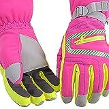 lonfenner Skihandschuhe,wasserdichte Warme Skihandschuhe Einstellbare Cuffthinsulate Winter Nach Winddicht rutschfeste Skifahren Snowboard Handschuhe Pink, XL