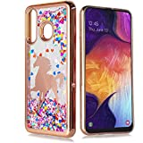 Galaxy A20/ A30 Cute Liquid Glitter Flowing Motion Sparkle Bling Shockproof Protective Chrome Clear TPU Case for Samsung Galaxy A20/A30 [Free Emoji Keychain!] (Unicorn)