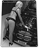 DKISEE Aluminum Safety Sign Turbo It Up Sexy Pinup Girl Hot Rod Garage Shop Man Cave Decor Metal Dur...