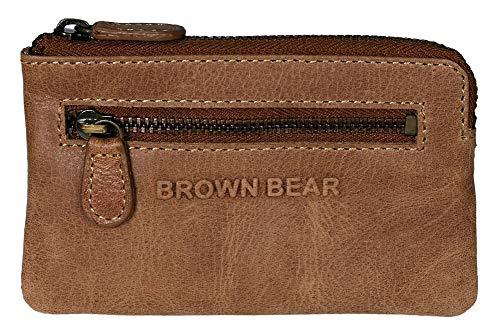Brown Bear Echtleder Schlüsseletui lang Leder Hell-Braun Vintage für Damen und Herren mit RFID Schutz für Kreditkarten und Bankkarten hochwertig ideal auch als Mini Geldbörse klein oder Münzbörse