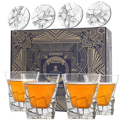 Krown Kitchen - 4-teiliges Whisky Gläser Set — Highball-Rocks-Glasbecher-Whiskey-Set—perfekt für Bourbon, Cocktails und Scotch. Enthält Geschenkbox und Keramik-Stein-Untersetzer. 280ml Kapazität