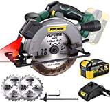 POPOMAN Cordless Circular Saw, 4300 RPM, 20V 4.0Ah Battery, Fast Charger, 2 x Blade(6-1/2'), Adjustable Cutting Depth 2-1/16'(90°), 1-3/8'(45°), Laser & Base Plate Adjustable - MTW300B