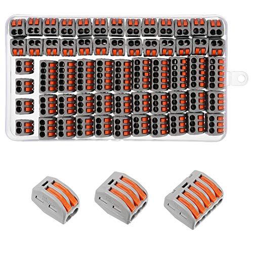 metagio 60 pinces Bornes de Connexion électrique Rapide Connecteur de Fil de Câble Compact Borne de connexion électrique Automatique, 30pcs 2 Entrées, 20pcs 3 Entrées,10pcs 5 Entrées