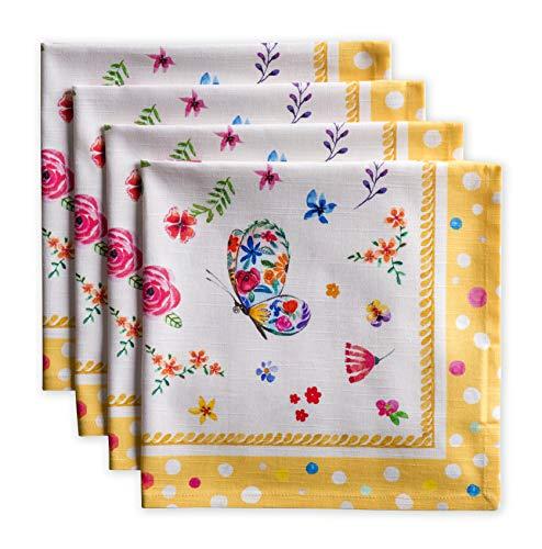 Maison d'Hermine - Ensemble de 4 serviettes en coton doux 100% coton pour les dîners de famille | Mariage | Cocktail | Cuisine | Printemps / Été (45cm x 45cm)