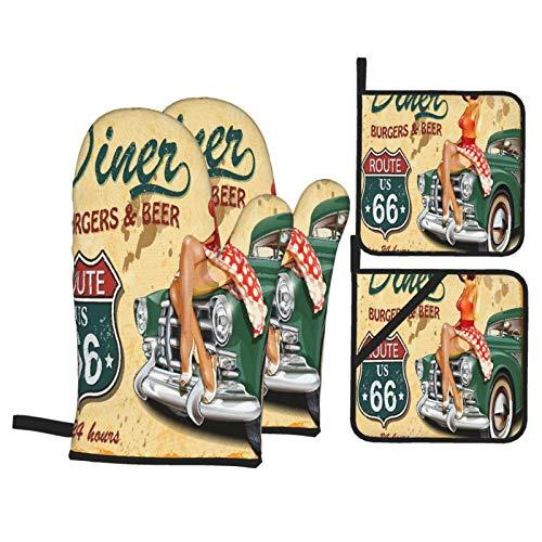 Ofenhandschuhe und Topflappen 4er-Sets,Vintage Diner Burger Bier Cafe Zeichen mit Einer Kellnerin auf einem Auto Ruote 66 Freeway Retro Illustration,Handschuhe mit widerstandsfähigen heißen,Kochen