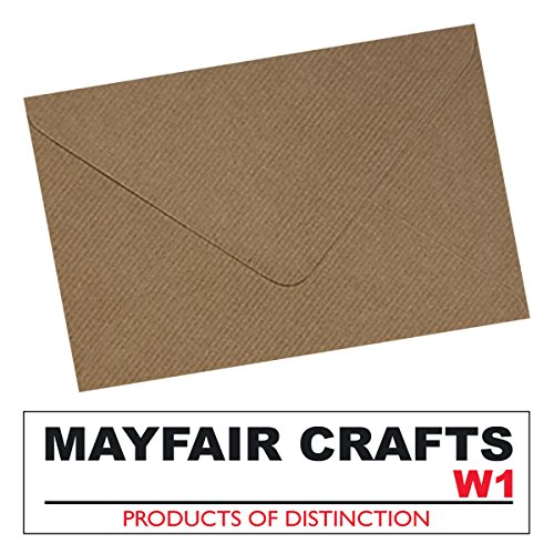 Mayfair Crafts Brown Ribbed Packpapier, geriffelt, C6/A6, 100 envelopes