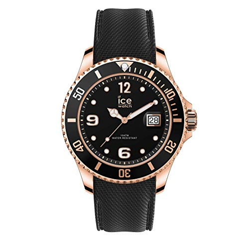 Ice-Watch - ICE steel Black Rose-Gold - Schwarze Herren/Unisexuhr mit Silikonarmband - 016765 (Medium)