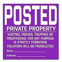 優れたポストされたプライベート財産標識、標識 狩猟禁止 釣り トラッピング トレスパス サイン ビニール 耐久性 タイベック ポスト サイン 20パック (パープル
