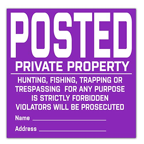 Remarkable Posted Private Property Signs,Posted No Hunting Fishing Trapping Trespassing Sign,Vinyl Durable Tyvek Posted Signs 20 Pack (Purple