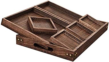 Ationgle 7 Pieces Wood Serving Trays with Handles, Rectangular Wooden Nesting Serving Trays Set for Breakfast, Coffee Tabl...