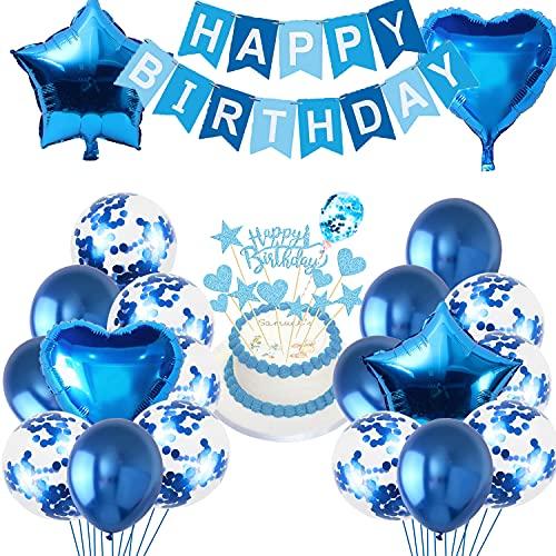 HONGECB color Azul Juego de Globos, Globos de Látex con Confeti, Estrellas y Papel de Aluminio en Forma de Corazón, Kit de Decoración de Cumpleaños, Pancartas Feliz Cumpleaños, para Niño