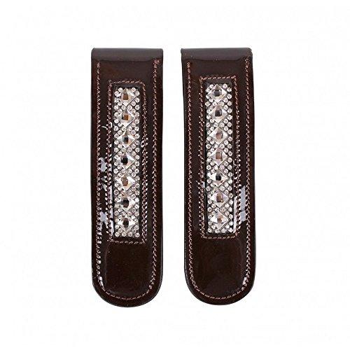 QHP Stiefel-Clip Shakira Leder-Clip mit Strass zum Aufpeppen Ihrer Stiefel 'Pimp Ihre Stiefel' (Braun)