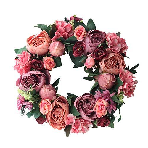 Demarkt Pioenroos Kunstbloemenkrans vervalste hortensia decoratieve krans voor decoratie van deur voorjaarsdecoratie tafeldecoratie als deurkrans en wanddecoratie 40 cm kunstbloemen krans pioenroos krans