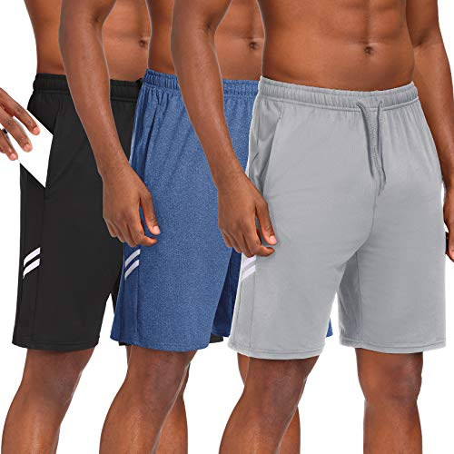 Runhit Mens Athletic Shorts with Pockets Basketball Shorts for Men 9 inch Gym Running Workout Shorts (3 Pack)