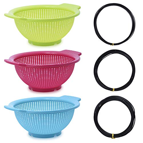 zefiru Kit Cultivo coladores Bonsai, Maceta de Entrenamiento y engorde Redonda de plástico 27 x 23,5 x 10,5 cm - 3 coladores más 3 Rollos de Alambre de Aluminio Negro para bonsái.