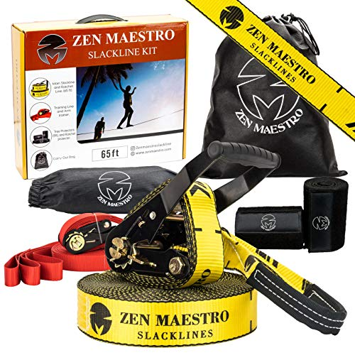 Zen Maestro Slackline kit 65ft Complete with Tree & Ratchet Protectors, Optional Training Line, Arm Trainer, Carry Bag, Instruction Booklet-Outdoor Fun for Kids & Adults. Easy to Set Up.