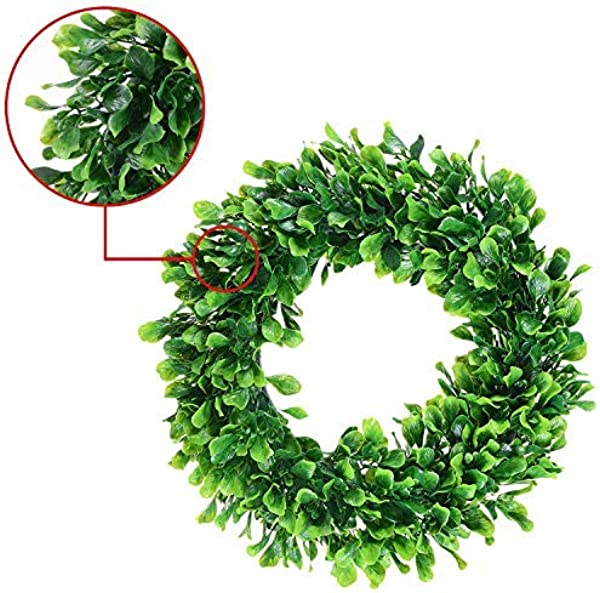 OSKIDE Boxwood Wreath Artificial Green Leaves Wreath 17 Front Door Wreath Spring For Farmhouse Garland Home Hanging Wall Window Decoration Boxwood Wreath