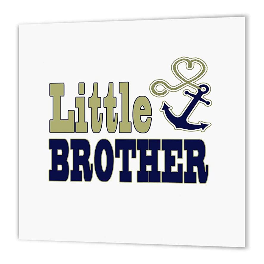 3dRose ht_165885_2 Little Brother Cute Anchor and Heart Rope Navy and Gold-Iron on Heat Transfer Paper for White Material, 6 by 6-Inch