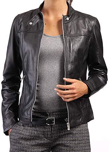 Chaqueta de piel de cordero auténtica para mujer, color negro, talla M, color negro