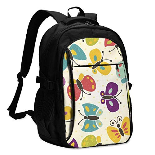 IUBBKI Butterfly Seamless Office & School Supplies with USB Data Cable and Music Jack Laptop Bags Computer Notebook 18.1X13.3 inch