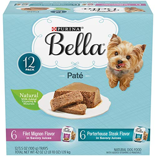 Purina Bella Natural Small Breed Pate Wet Dog Food Variety Pack, Filet Mignon & Porterhouse Steak in Juices - (12) 3.5 oz. Trays