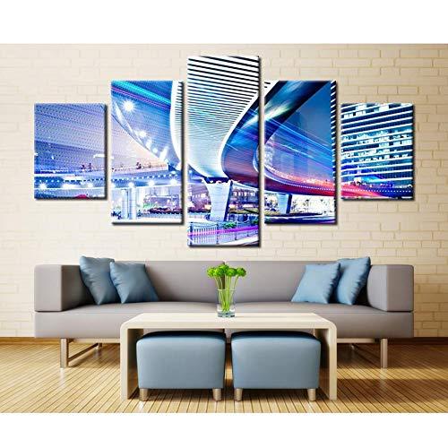 Imprima 5 Pinturas de Dibujos Animados sobre Lienzo para impresión HD Tipo s Ciudad Noche Luces de la Calle ación Sala de Estar Artista casa decoración Pintura 40x60 40x80 40x100cm Sin Marco