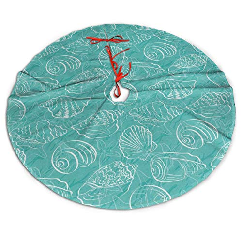 Oodle Style Marine Seashells Abstract Lines Christmas Tree Skirt,Ornaments Xmas Tree Skirt for Holiday Birthday Wedding Party Decorative,Yard Supermarket Outdoor Indoor Mat Decorations