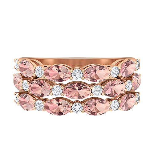 Anillo de tres filas, banda de dispersión, piedras preciosas de 4,97 ct, D-VSSI moissanite 5x3 anillo de morganita creado por laboratorio ovalado, banda ancha de oro, 14K Oro rosa, Size:EU 47