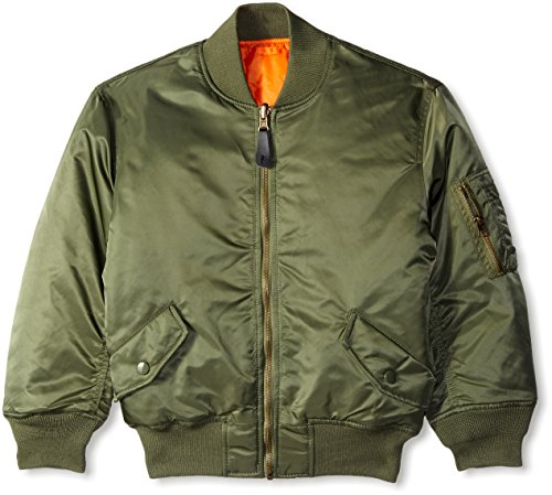 ALPHA INDUSTRIES Boys' Big Little MA-1 Bomber Jacket, Sage, YM 10/12
