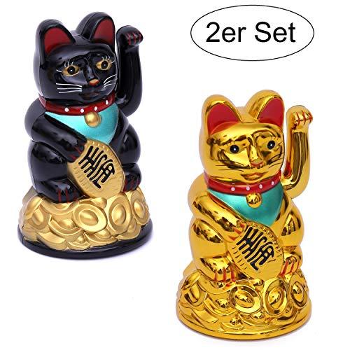Winkekatze 2er Set Gold und Schwarz - Winkende Japanische Glückskatze - Wackelfigur Glücksbringer Büro Schreibtisch - lustige Scherzartikel - Abschiedsgeschenk Kollege - Wichtel-Geschenk (2er Set)
