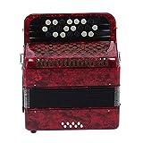 Accordian, acordeón Profesional de acordeón de 22 Teclas y 8 Bajos, Instrumento de lengüeta de acordeón para presentaciones, Banquetes, Fiestas(Rojo, Azul)