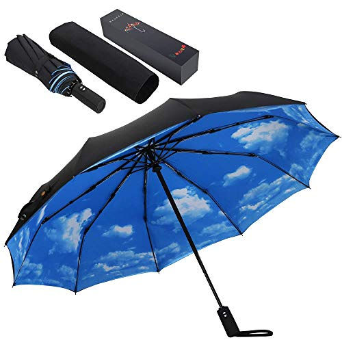 10 Ribs Umbrella,Large Travel Umbrella, Windproof Umbrella, Compact Auto Open Close Umbrella with Double Layer Design, Sturdy UV Protection Waterproof Umbrella (Blue Sky)