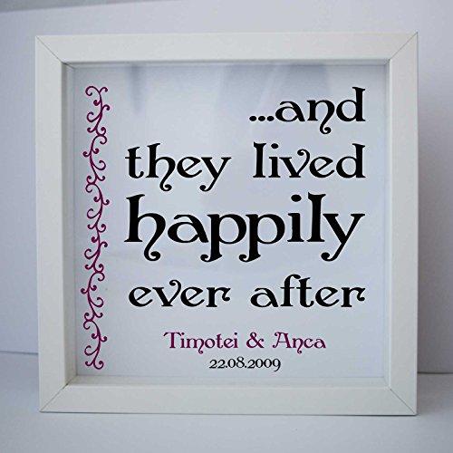 'E Que Vivieron Happily Ever dopo De' cornice regalo personalizzato su cornice 23x 23cm por stika. co bianco