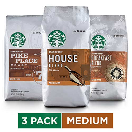 Starbucks Medium Roast Ground Coffee Variety Pack, 12 Ounce (Pack of 3)