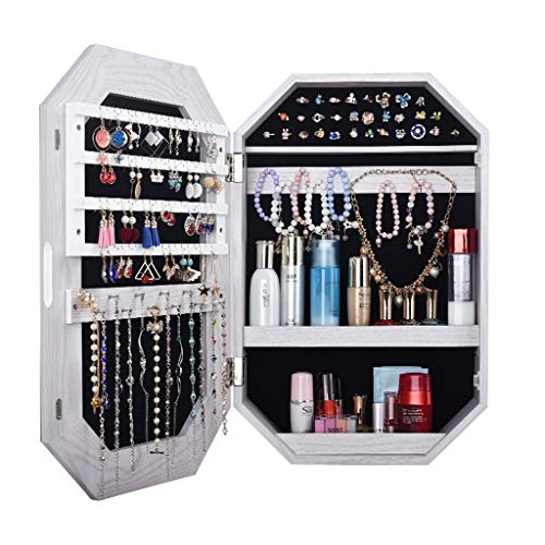 DLT Acht Rand Holz Abschließbare Schmuck Schrank Schrank, größere Kapazität Wandmontage Makeup Anrichte, Samt Futter, Make-Up Organizer Box, Weiss