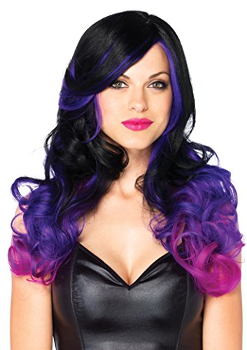 "Leg Avenue Women's OS Allure Multi Color Wig with Adjustable Elastic Strap, black/Purple 24"" Long Wavy, One Size"