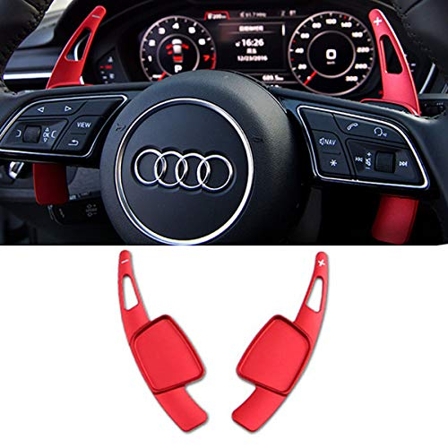 Steering Wheel Paddle Shifter Extensions For Audi, TTCR-II Shift Paddle Blades Fit Audi A4 2017-2019 A3 Q7 S3 2017-2020 A5 S4 S5 2018-2019 Q5 SQ5 2018-2020 Q8 2019-2020 TT TTS 2016-2020 (Red)