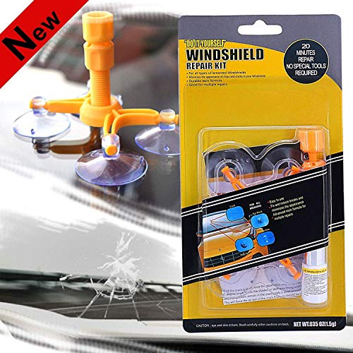 FILBA Windshield Repair Kit, Car Windshield Repair Kit with Pressure Syringes for Fix Windshield Chips & Cracks & Bulls-Eye & Star-Shaped & Half-Moon Cracks