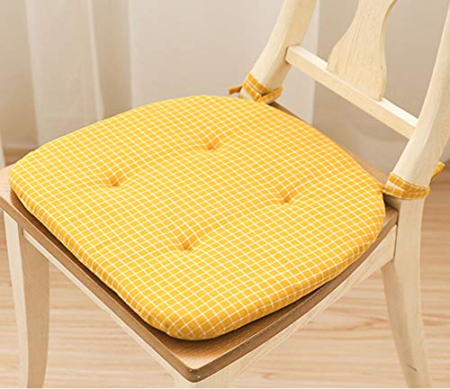 Peacewish Office Chair Pads Set Soft Tufted Cotton Padded Seat Cushions with Ties Kitchen Dining Yellow (Yellow, Set of 4)