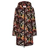 Floweworld Damenmode mit Blumenmuster Langen Mantel Winter warm unten Baumwolle Kapuzenmantel Größe Reißverschluss Jacke Casual Outwear