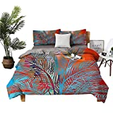 dsdsgog 3 Sets of Bedding Bed Cover Silk Sheets Palm Tree Leaves Pixels Green Pink Quilt Cover W79 xL90 Zippered Quilt Cover and 2 Envelope Pillowcases