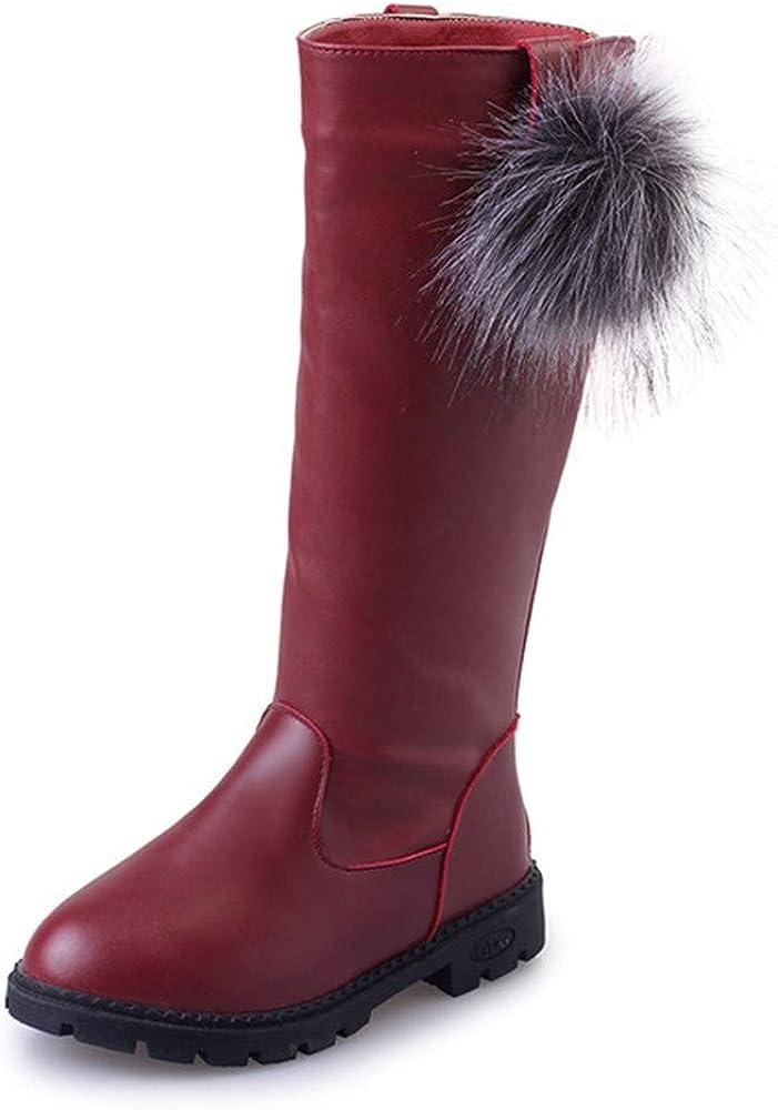 BININBOX Girl's Waterproof Back Zipper Fur Tall Riding Boots Girls Knee High Boots Leather Girls Winter Boots Kids