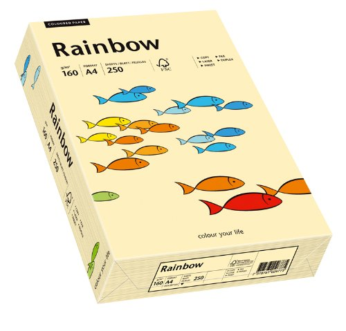 Drucker-/Kopierpapier farbig: Bastelpapier Rainbow 160 g/m², A4, 250 Blatt, chamois (hell-beige)